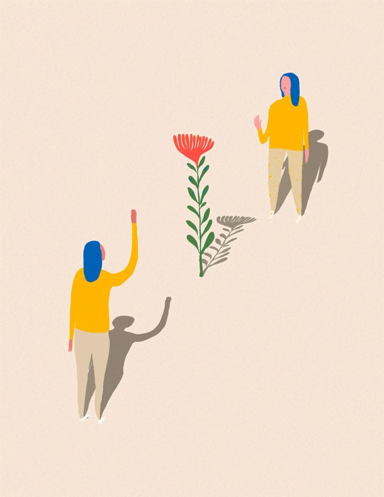 remote closing and contactless closing picture of two women waving at each other by a flower for article on real estate closing attorney